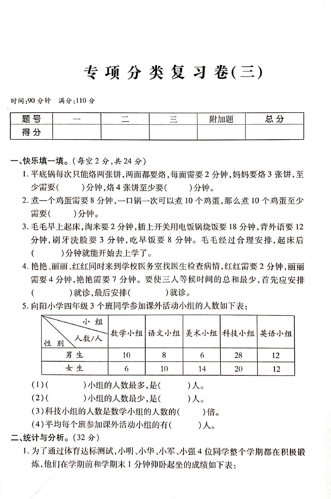 """人教版四年级数学复习卷2"""""""